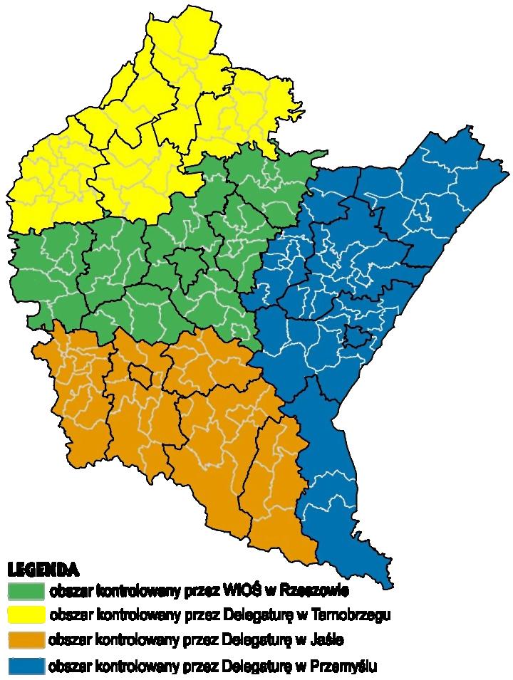 Zasięg terytorialny delegatur WIOŚ
